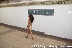 Miranda full public nudity New York City Subway Fulton Street/Nassau Street beautiful young girl nycsubwaynude spread pussy ass tits