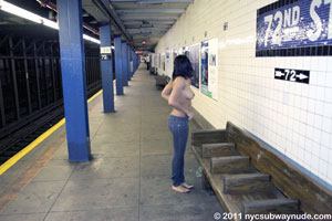 Viola full public nudity New York City Subway 72nd Street and Central Park West beautiful young girl nycsubwaynude spread pussy ass tits